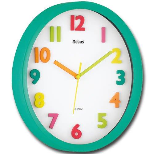 Quarzwanduhr oval mit Farbauswahl – Wanduhr – Uhr (türkis) jetzt kaufen