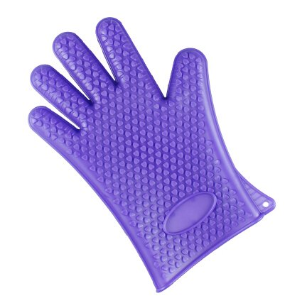Thickened waterproof silicone thermal gloves microwave oven temperature resistant gloves anti-scald for baking, bakeware, Kitchen Heat Proof Protector, Cooking tools purple