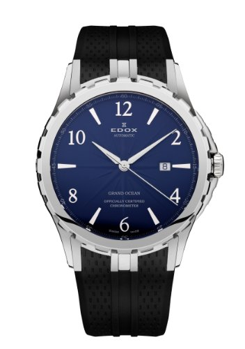 Edox Grand Ocean Automatic Chronometer Stainless Steel Mens Watch Blue Dial 80077-3-BUBN