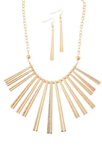 The Jewel Rack Metal Bar Fan Necklace (Matted Gold)