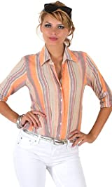 Orange multi stripe shirt