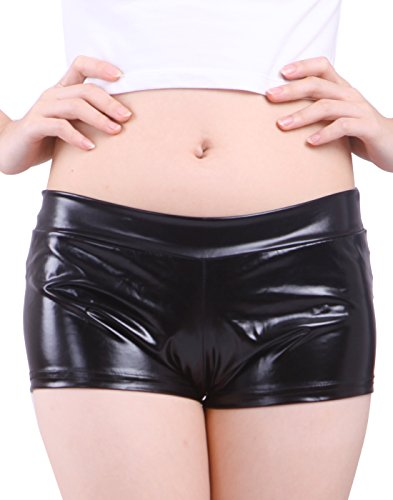 HDE Women's Metallic Rave Booty Dance Shorts Liquid Wet Look Ruched Back Mini Shorts (Black, Small) (Halloween Rave)