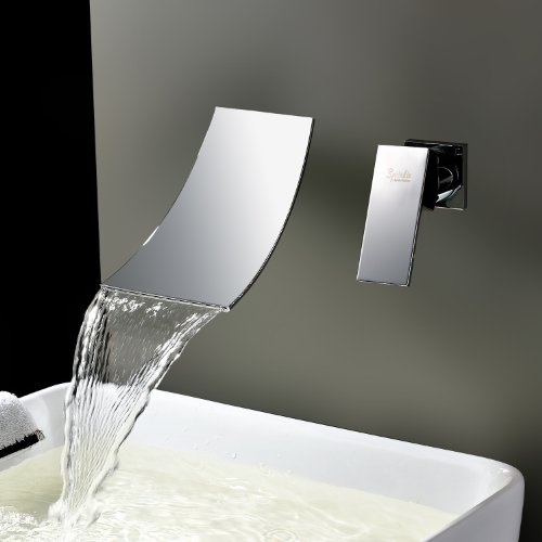 Discover Bargain Ouku® Contemporary Single Handle Wall Mount Widespread Waterfall Bathroom Vanity S...