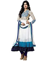 Sk Creation White And Blue Neck Embroidered Semi Stitched Long Anarkali Suit