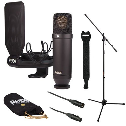 Rode Nt1 Large Diaphragm Condenser Microphone Kit With Smr Shockmount And A Tripod Base Microphone Floor Stand And Studio Microphone Cable - 6' And Touch Fastener Straps