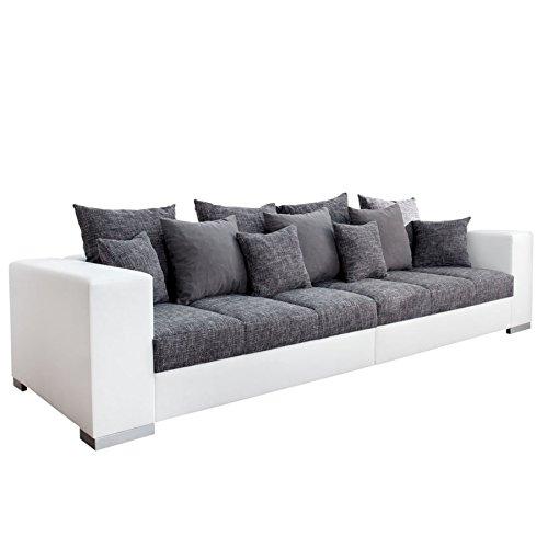 Design XXL Sofa BIG SOFA ISLAND in weiß grau charcoal Strukturstoff inkl. Kissen thumbnail