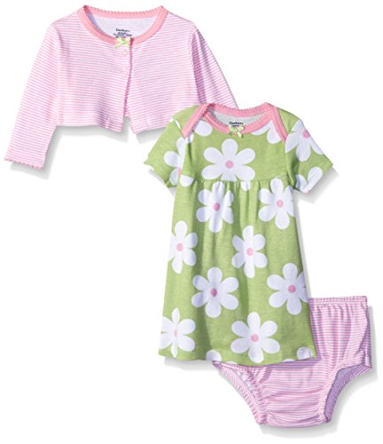 Gerber Baby Three-Piece Cardigan, Dress and Diaper Cover Set, Flowers, 12 Months