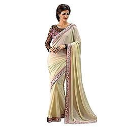 Resham Fabrics Cream Chinnon Chiffon Saree