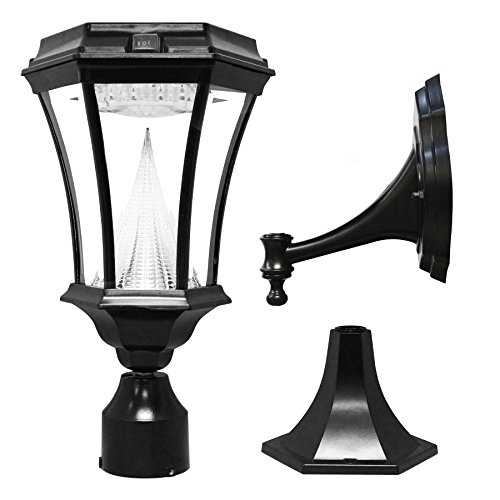 Gama Sonic Gs-94Fpw Victorian Solar Outdoor Led Light Fixture, Black