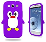 Samsung Purple Penguin Silicone Case Cover With Free Custom Screen Protector, WirelessGeeks247 Metallic Detachable Touch Screen Stylus Pen and Anti Dust Plug For Samsung Galaxy S3 i9300