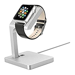 Apple Watch Stand, Aluminum Charging Dock Apple Watch Charging Stand Station iWatch Charger Bracket with Comfortable Viewing Angle for Apple Watch 42mm & 38mm All Models (Silver)
