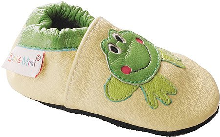 Bibi and Mimi Infants' Frog Booties,Green Leather,S M