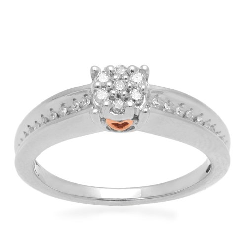18k Rose Gold Plated Sterling Silver Diamond Promise Ring (1/8 cttw, I-J Color, I3 Clarity), Size 6
