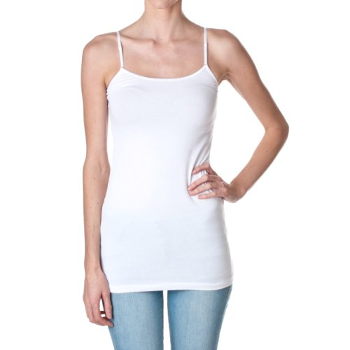 Plain Long Spaghetti Strap Tank Top Camis Basic Camisole Cotton (Medium, White)