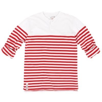 J by Jasper Conran-Girl's red striped roll sleeve top-age 11-12