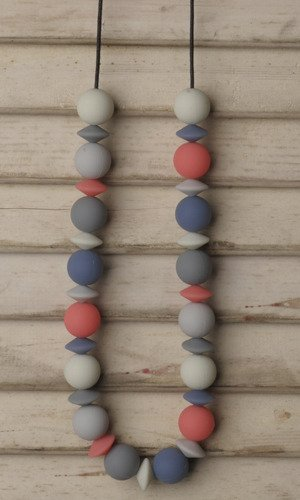 Teethease Medley Teething Necklace (Multi - Blue/Coral/Grey) - 1