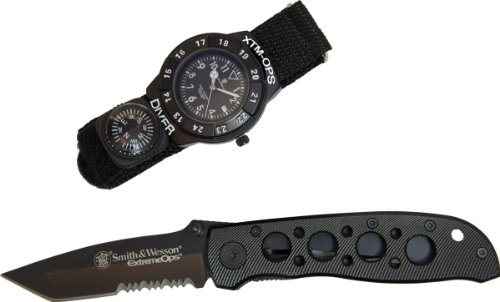 Smith & Wesson Sw-Xtmops-2 Extreme Ops Combo Tactical Flip Knife And Diver Watch With Compass