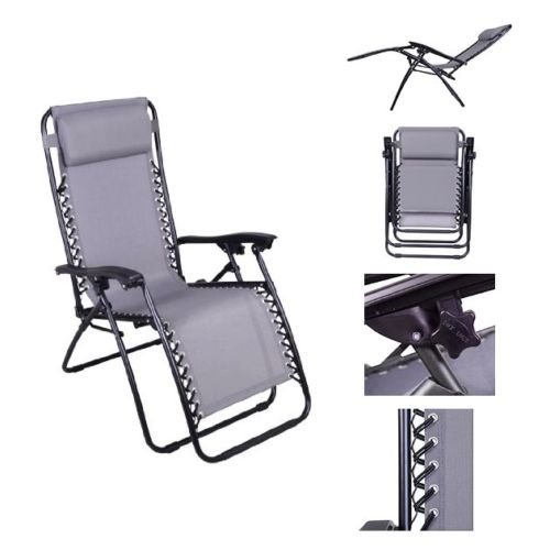 Grey Color Recliner Lounge Chair Fully Reclined-63 Inches Long