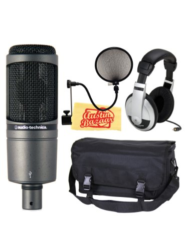 Audio-Technica AT2020 USB Condenser USB Microphone Bundle with Mic Bag, Headphones, Pop Filter, and Polishing Cloth