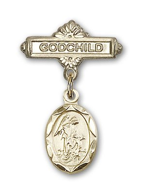 Gold Filled Baby Badge with Guardian Angel Charm and Godchild Badge Pin