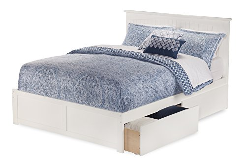 Nantucket Bed with Flat Panel Foot Board and 2 Urban Bed Drawers, Queen, White (White Queen Bed With Storage compare prices)