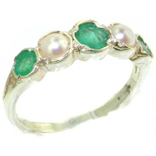 Genuine Solid Sterling Silver Natural Emerald & Pearl Womens Eternity Ring - Size 11.75 - Finger Sizes 4 to 12 Available - Suitable as an Anniversary ring, Engagement ring, Eternity ring, or Promise ring