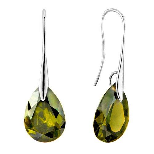 Pugster Peridot Green Angel Teardrop Swarovski Crystal Earrings