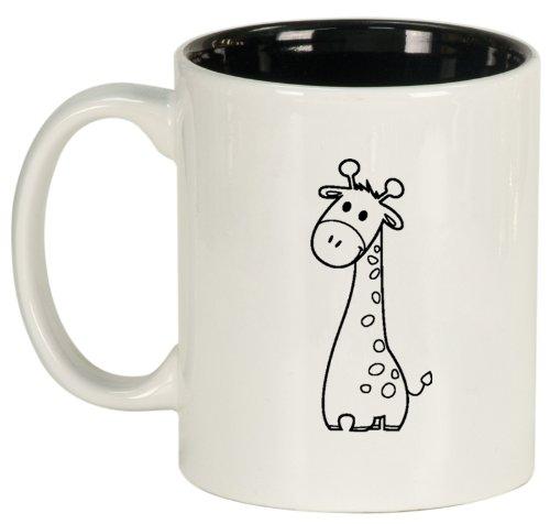 White Ceramic Coffee Tea Mug Cute Giraffe Cartoon