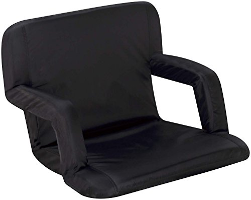 Naomi Home Venice Portable Reclining Seat with Armrest, Black, Grande (Extra Large Stadium Seats compare prices)