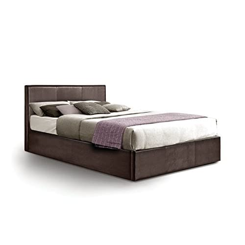 Ottoman Double Storage Bed Upholstered in Faux Leather, 4ft 6, Brown