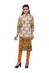 KIMYRAA Women's Cotton Kurta (KLK-1013-ORANGE-S)