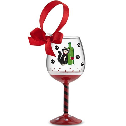 Clear and Red Holiday Wine Glass Ornament with Cat and Paws with Bow