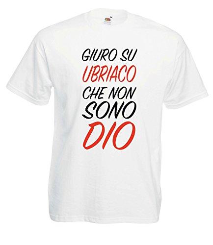 Settantallora - T-shirt Maglietta J1308 Giuro Su Ubriaco Che Non Sono Dio Taglia L