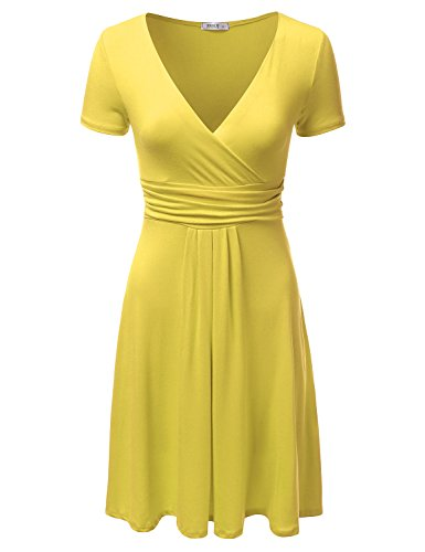 J.TOMSON Women's V-Neck Surplice Midi Short Sleeve Dress YELLOW XL