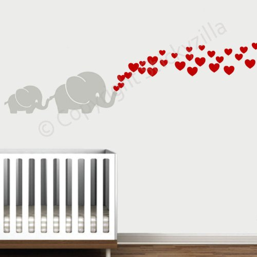 Cutie Grey Elephants with Colored Bubble Hearts Vinyl Wall Decal Sticker Baby, Nursery, Play Room (Red Hearts)