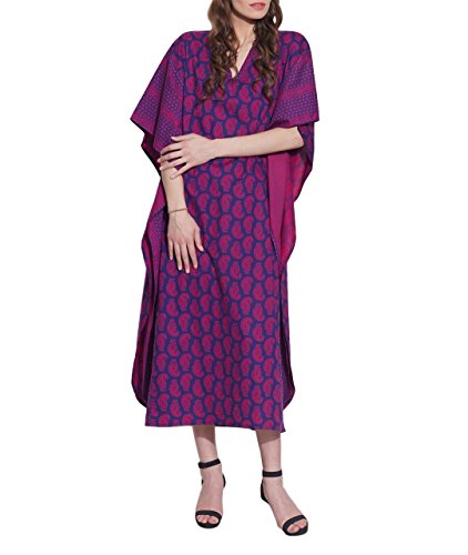 Cotton Pink & Blue Maxi Dress - Printed Casual Night Wear Gifts for Mother