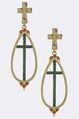 Baubles & Co Faceted Bead Lined Cross Drop Earrings (Orange) front-179639