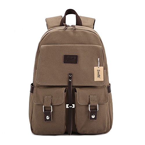 S-Coach Soofit Unisex Vintage Genuine Leather Canvas Back Pack