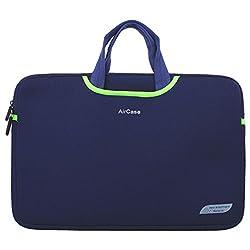 AirCase 13/14 Inch Designer Neoprene Protective Handle Sleeve for Laptops [Navy Blue]