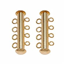buy Beadaholique 2-Piece Tube Clasp With 4-Ring Strands, 26Mm, 22K Gold