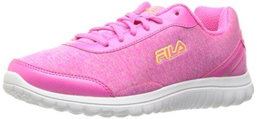 Fila Women's Lite Spring Heather Running Shoe, Sugarplum/Fuchsia Red/Safety Yellow, 8.5 M US