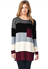 LeggingsQueen Women's Color Block Modal Tunic Top