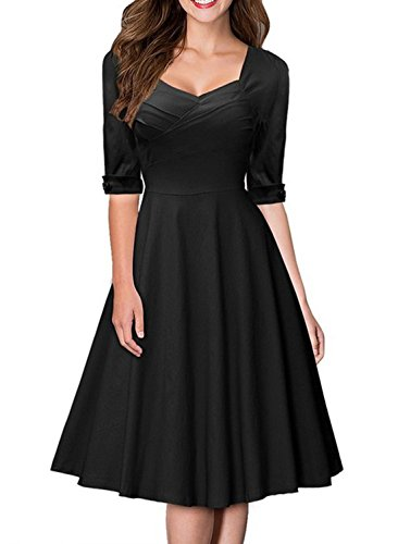 Women 50s Half Sleeve Hepburn Retro Prom Party Cocktail Swing Dress