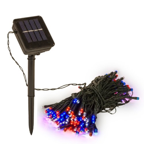(2 Pack) 55 Foot Solar Powered Outdoor Holiday Red White And Blue Colored Led Patriotic String Lights