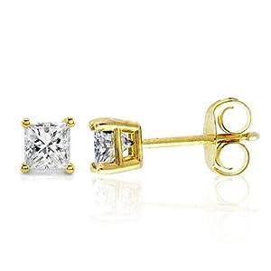 0.16ct TDW Diamond Stud Earrings in 10K Yellow Gold (Princess-cut, I-J, I2-I3)