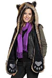 Faux Fur Animal Hood with Pocket Hat Scarf Mitten Blue Fox