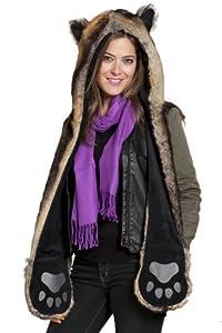 Faux Fur Animal Hood with Pocket Hat Scarf Mitten Blue Fox