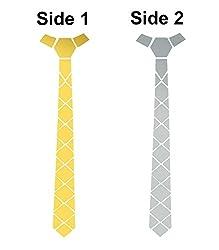 Studio Shubham reversible shining silver mirror and glossy blue tie