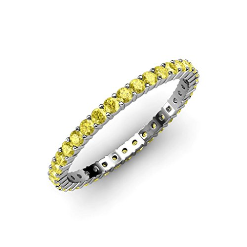 Yellow-Sapphire-Common-Prong-Eternity-Band-079-ct-tw-to-101-ct-tw-in-14K-Gold