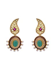 ANTIQUE GOLDEN STONE STUDDED KAIRI STYLE EARRINGS/HANGINGS (RED GREEN) - PCAE2188